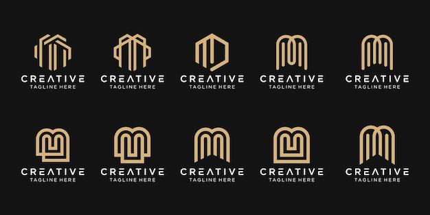 Набор абстрактных букв m логотип шаблон. иконки для бизнеса моды, технологий, просто.