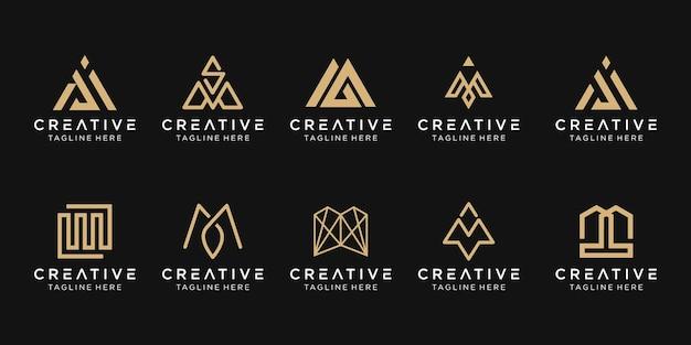 Набор абстрактных букв m логотип шаблон.