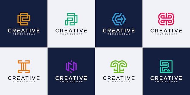 Набор абстрактных букв вензеля шаблон логотипа.