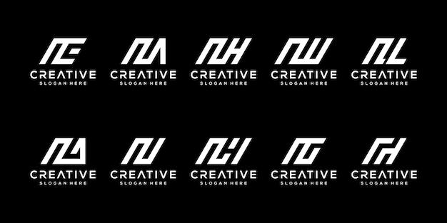 抽象的な頭文字n、ロゴテンプレートのセット。ファッション、スポーツ、自動車、シンプルのビジネスのためのアイコン。
