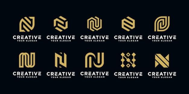 Набор абстрактных начальных букв n шаблон дизайна логотипа.