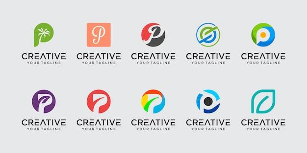 추상 초기 문자 p 로고 템플릿 집합입니다. 패션, 자동차, 금융 비즈니스 아이콘