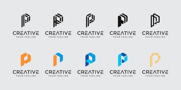 추상 초기 문자 p 로고 템플릿 집합입니다. 패션, 디지털, 기술 비즈니스를 위한 아이콘,