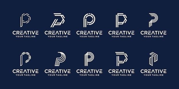 Набор абстрактных букв p логотип шаблон. иконки для бизнеса моды, цифровых технологий,
