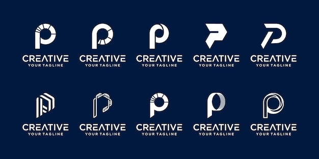 추상 초기 문자 p 로고 템플릿 집합입니다. 패션, 스포츠, 자동차,