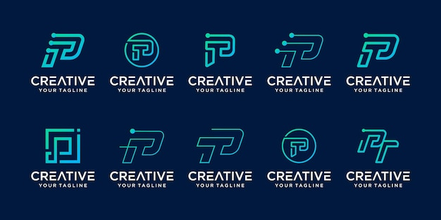 Набор абстрактных букв p логотип шаблон.