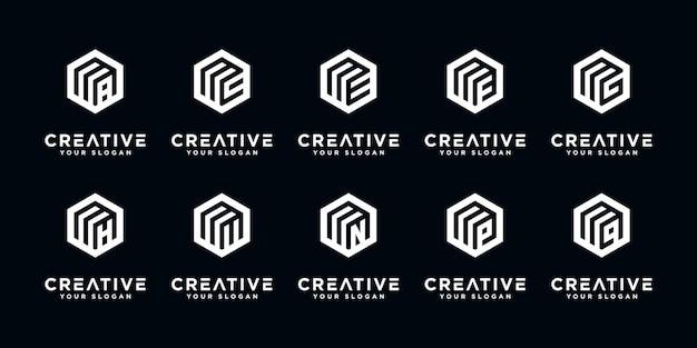 Набор абстрактных букв r логотип дизайн шаблона. иконки для бизнеса роскоши, элегантности, простоты.