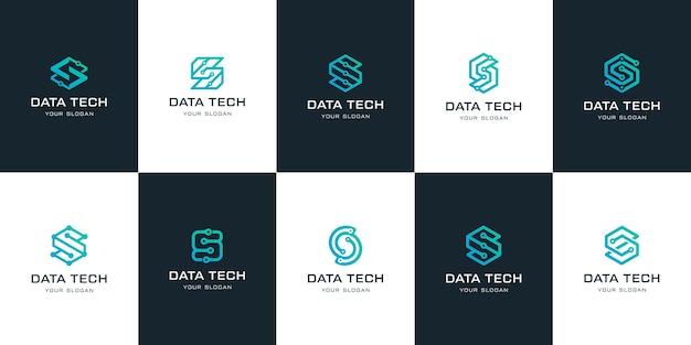 Набор абстрактных буквица t вензель шаблон логотипа.
