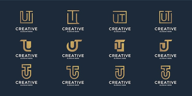 Набор абстрактных начальной буквы u и буквы t комбинации шаблона логотипа. иконки для бизнес квартира, линия, вдохновение, элегантный, простой.