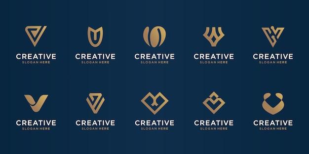抽象的な頭文字vロゴデザインテンプレートのセットです。贅沢、エレガント、シンプルなビジネスのためのアイコン。