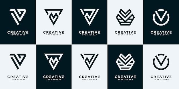 추상 초기 편지 v 로고 디자인 서식 파일의 집합입니다. 고급스럽고 우아하고 단순한 비즈니스를 위한 아이콘입니다.
