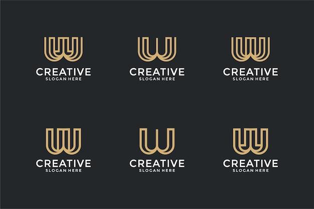 線画スタイルのロゴデザインテンプレートと抽象的な頭文字wのセット