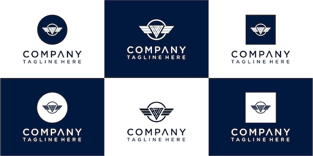 Набор абстрактных начальных иконок дизайна логотипа вензеля для бизнеса luxuryelegant и случайный