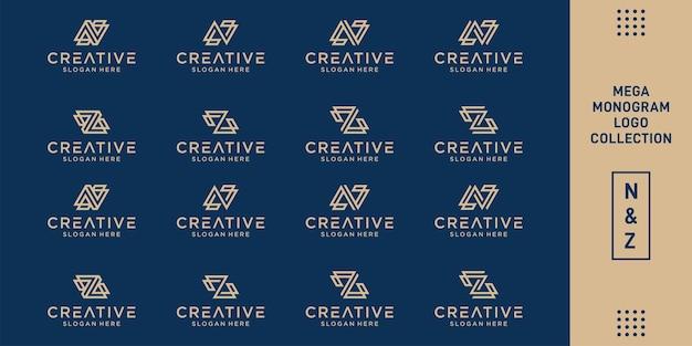 Набор абстрактного начального дизайна логотипа n & z.monogram, иконок для бизнеса роскоши, элегантности и случайности. премиум векторы