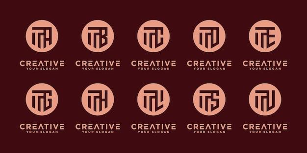 Набор абстрактных начальных т и т. д. дизайн логотипа монограммы, бизнес иконы роскоши, элегантный и случайный
