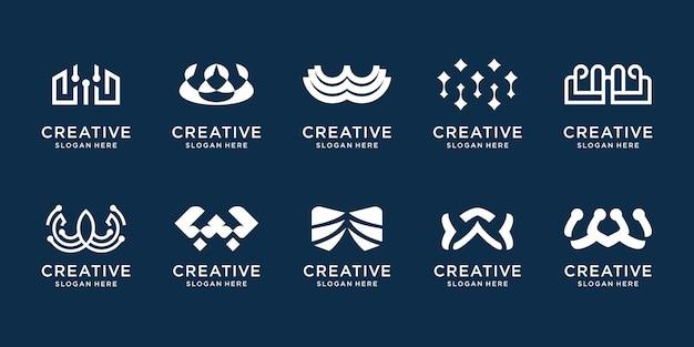 추상적인 초기 w 로고 템플릿 집합입니다. 비즈니스 회사, 정체성, 기술을 위한 컬렉션 모노그램 디자인. 프리미엄 벡터