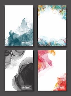 抽象インク絵画のセット