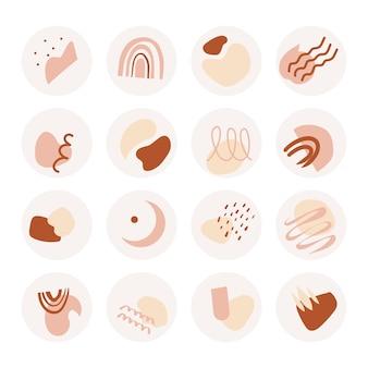 추상 채소 하이라이트 세트. blob, 추상적 인 모양과 선으로 소셜 미디어 아이콘 모음. 손으로 그린 현대 미술