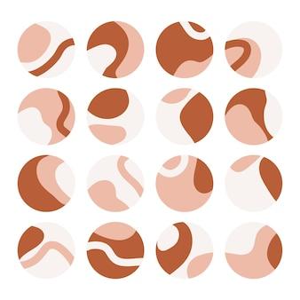 Набор абстрактных моментов insta. коллекция иконок социальных сетей с каплями, абстрактными формами и линиями.