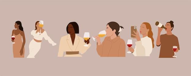 ワインを持つ抽象的な国際女性のセット。