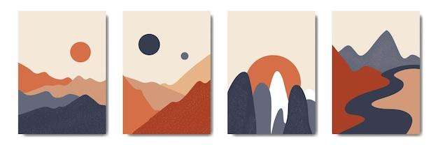Набор абстрактного пейзажа горы минималистский плакат в стиле бохо