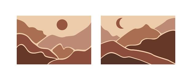 추상적인 풍경 포스터 세트입니다. 산과 미적 배경 풍경입니다.