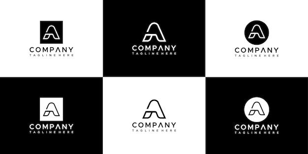 抽象文字のセットロゴデザイン。
