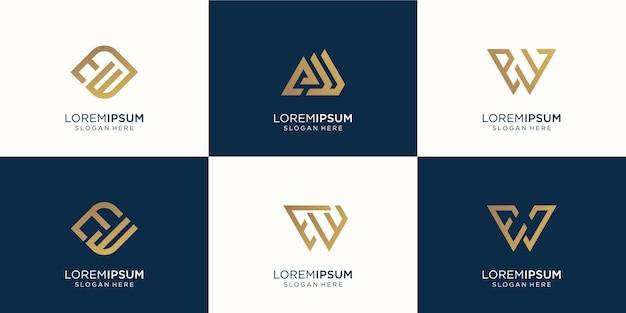 Набор абстрактных букв e и буквы w комбинации. символ для бизнеса, вдохновения, технологий, роскоши. шаблон дизайна. премиум векторы