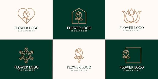 抽象的な線形チューリップアイコンのセットです。花のつぼみのシンボル。美容、スパサロン、化粧品、またはブティックのロゴ。