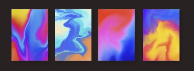 추상 액체 아크릴 물감 포스터 세트입니다. 현대 유체 색상 배경입니다. 트렌디한 쿨 레인보우 컬러 커버.
