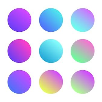 白い背景に分離された抽象的な液体の形のセットです。流体のフォーム、サークルとグラデーションバナー。モダンなロゴ。設計