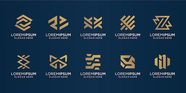 贅沢、インスピレーション、抽象的なビジネスのための抽象的なロゴdesign.iconのセット。