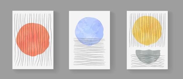 抽象的なミニマリストの手描きの構成のセット。水彩画の形をした世紀半ばの現代アートワーク。ポスター、ポストカード、パンフレット、ウォールアート、バナーのシンプルな幾何学的なイラスト。