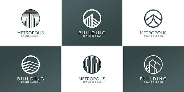 Набор абстрактных современных зданий с логотипом premium векторы