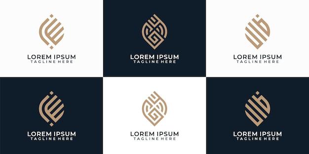 抽象的なモダンでエレガントなロゴデザインの形の概念のセット