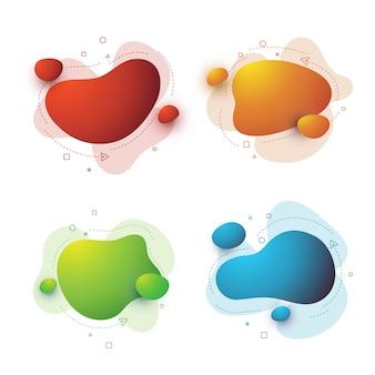 抽象的な現代グラフィック流体要素のセット。流れる液体の形をしたグラデーションの抽象的なバナー。