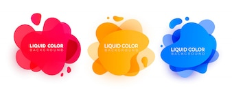 Set of abstract modern liquid elements.