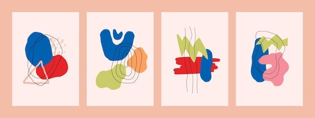 벽 장식 엽서에 대 한 추상적인 현대 최소한의 포스터 handdrawn 모양 벡터 디자인의 집합