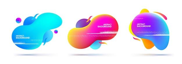 Набор абстрактных современных разноцветных плавных графических элементов