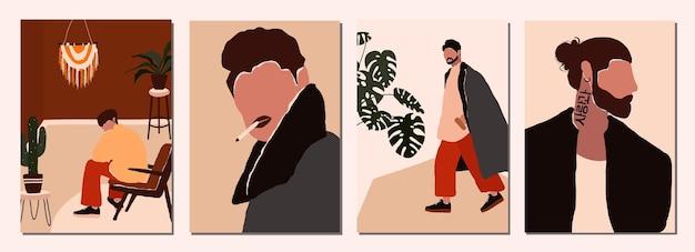 男性キャラクターの抽象的な現代の肖像画のセット