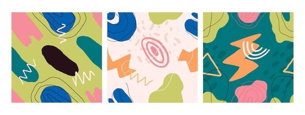 Pape 섬유 포장에 대 한 추상적인 현대 원활한 패턴 handdrawn 모양 벡터 디자인의 집합