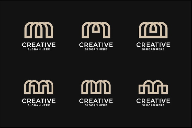 抽象的なモノグラム頭文字hロゴデザインテンプレートのセット