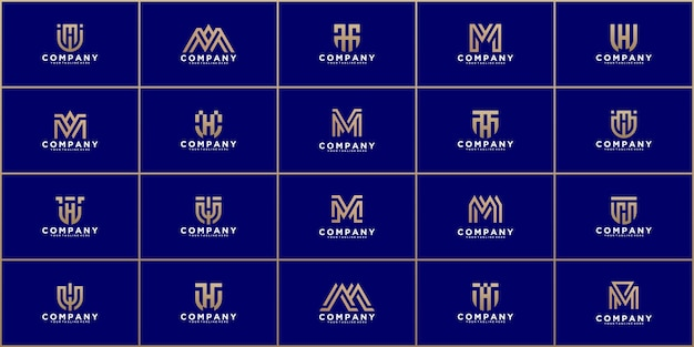 Набор абстрактных монограмм буквица m, k, t логотип шаблон