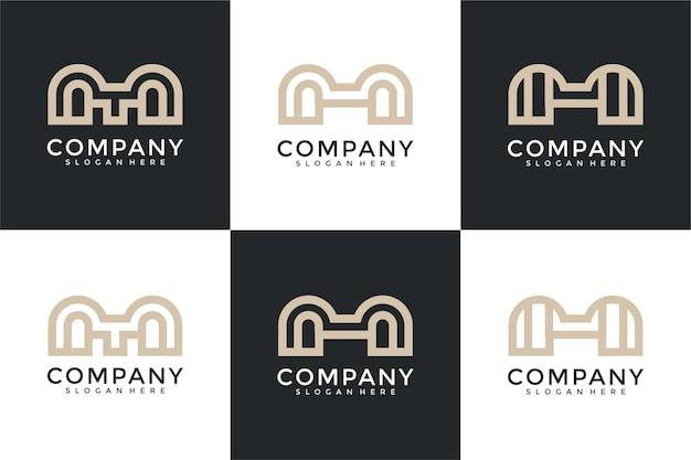 抽象的なモノグラム頭文字mロゴデザインテンプレートのセット