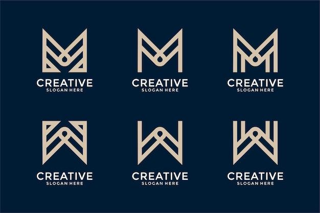抽象モノグラム頭文字mwロゴデザインテンプレートのセット