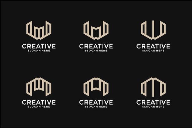 抽象的なモノグラム頭文字mwロゴデザインテンプレートのセット