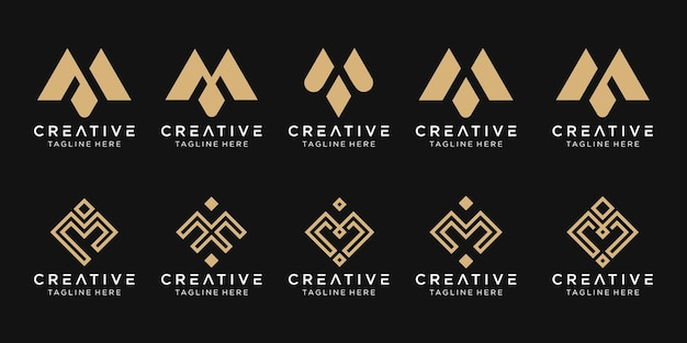 Набор абстрактных монограмм начальный шаблон логотипа m.