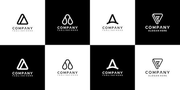 抽象的なモノグラム文字のロゴデザインのセットです。