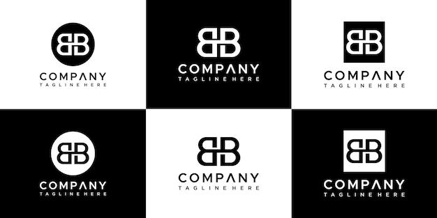 추상 모노그램 문자 bb 로고 디자인의 집합입니다.