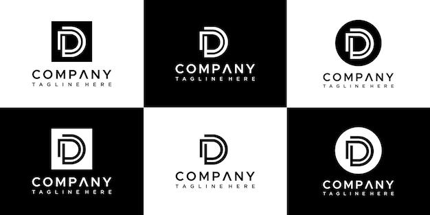 추상 모노그램 문자 d 로고 디자인의 집합입니다.